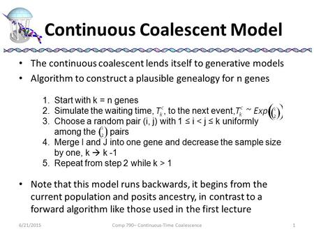 Continuous Coalescent Model