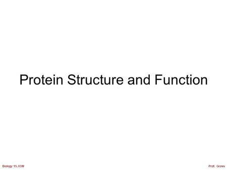 Biology 15, 03WProf. Gross Protein Structure and Function.