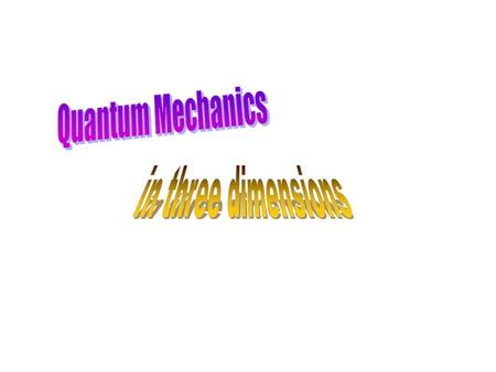 Quantum Mechanics in three dimensions.