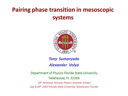 Pairing phase transition in mesoscopic systems Tony Sumaryada Alexander Volya Department of Physics Florida State University Tallahassee, FL 32306 19 th.