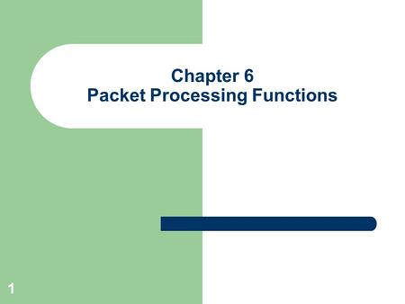 1 Chapter 6 Packet Processing Functions. 2 Outline Our Goal Packet Processing – Address Lookup And Packet Forwarding – Error Detection And Correction.
