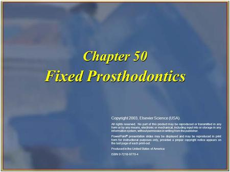 Fixed Prosthodontics Chapter 50