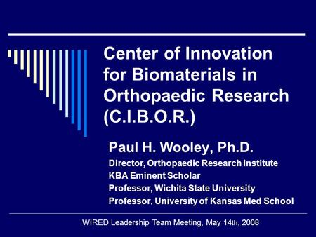 Center of Innovation for Biomaterials in Orthopaedic Research (C.I.B.O.R.) Paul H. Wooley, Ph.D. Director, Orthopaedic Research Institute KBA Eminent Scholar.
