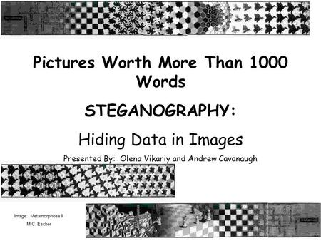 Pictures Worth More Than 1000 Words STEGANOGRAPHY: Hiding Data in Images Presented By: Olena Vikariy and Andrew Cavanaugh Image: Metamorphose II M.C. Escher.