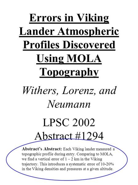 Errors in Viking Lander Atmospheric Profiles Discovered Using MOLA Topography Withers, Lorenz, and Neumann LPSC 2002 Abstract #1294 Abstract's Abstract: