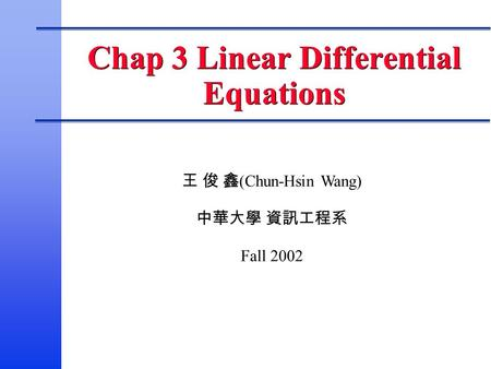 Chap 3 Linear Differential Equations