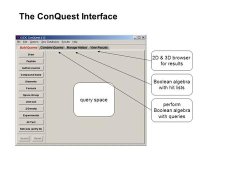 The ConQuest Interface query space perform Boolean algebra with queries Boolean algebra with hit lists 2D & 3D browser for results.