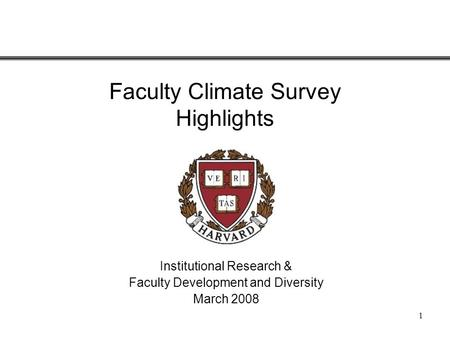 1 Faculty Climate Survey Highlights Institutional Research & Faculty Development and Diversity March 2008.