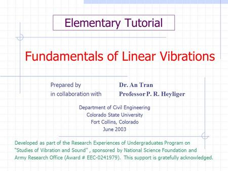 Fundamentals of Linear Vibrations