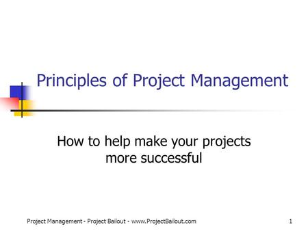 Principles of <strong>Project</strong> <strong>Management</strong>