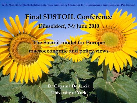 1 Final SUSTOIL Conference Düsseldorf, 7-9 June 2010 The Sustoil model for Europe: macroeconomic and policy views Dr Caterina De Lucia University of York.