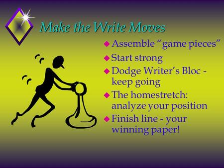 "Make the Write Moves Make the Write Moves u Assemble ""game pieces"" u Start strong u Dodge Writer's Bloc - keep going u The homestretch: analyze your position."