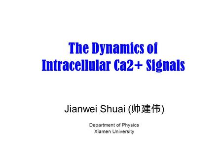 The Dynamics of Intracellular Ca2+ Signals