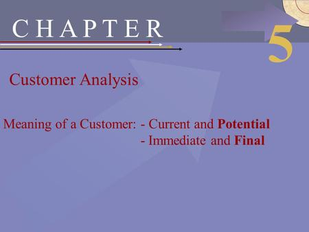 McGraw-Hill/Irwin © 2002 The McGraw-Hill Companies, Inc., All Rights Reserved. C H A P T E R Customer Analysis 5 Meaning of a Customer: - Current and Potential.