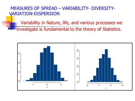 MEASURES OF SPREAD – VARIABILITY- DIVERSITY- VARIATION-DISPERSION