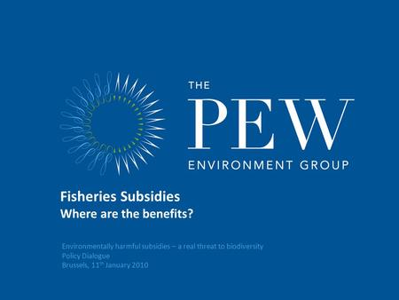 Environmentally harmful subsidies – a real threat to biodiversity Policy Dialogue Brussels, 11 th January 2010 Fisheries Subsidies Where are the benefits?