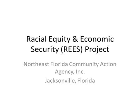 Racial Equity & Economic Security (REES) Project Northeast Florida Community Action Agency, Inc. Jacksonville, Florida.