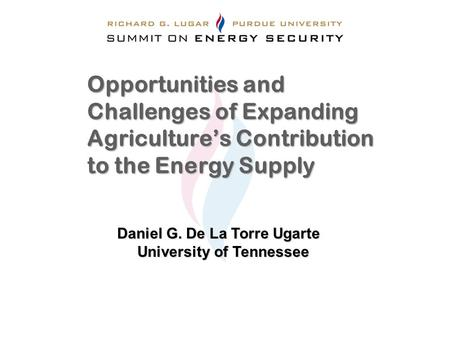 Opportunities and Challenges of Expanding Agriculture's Contribution to the Energy Supply Daniel G. De La Torre Ugarte University of Tennessee.