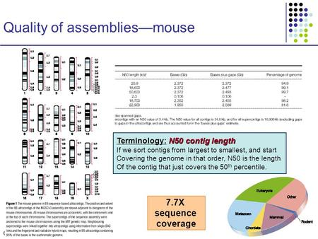 CS273a Lecture 9, Aut08, Batzoglou CS273a Lecture 9, Fall 2008 Quality of assemblies—mouse N50 contig length Terminology: N50 contig length If we sort.