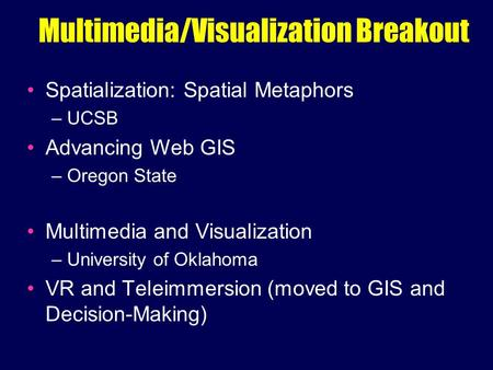 Multimedia/Visualization Breakout Spatialization: Spatial Metaphors – UCSB Advancing Web GIS – Oregon State Multimedia and Visualization – University of.