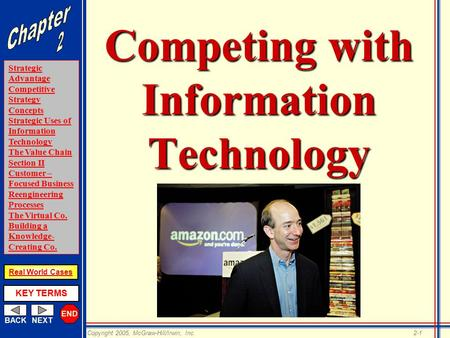END BACKNEXT Strategic Advantage Competitive Strategy Concepts Strategic Uses of Information Technology The Value Chain Section II Customer – Focused Business.
