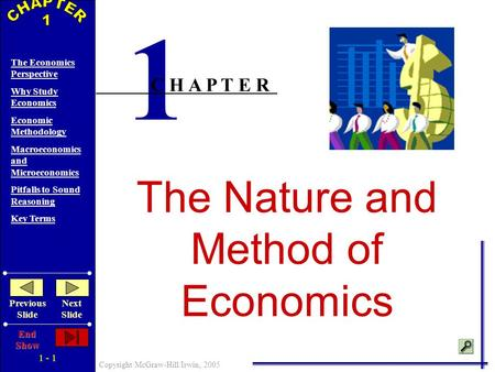 1 - 1 Copyright McGraw-Hill/Irwin, 2005 The Economics Perspective Why Study Economics Economic Methodology Macroeconomics and Microeconomics Pitfalls.