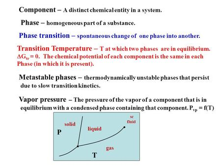 Phase – homogeneous part of a substance. Phase transition – spontaneous change of one phase into another. Transition Temperature – T at which two phases.