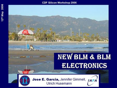 CDF Silicon Workshop 2006 12 th May 2006 New BLM & BLM electronics Jose E. Garcia, Jennifer Gimmell, Ulrich Husemann.