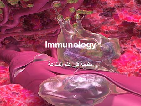 "Immunology مقدمة في علم المناعة. What is immunology? Immune (Latin- ""immunus"") –To be free, exempt –People survived ravages of epidemic diseases when."