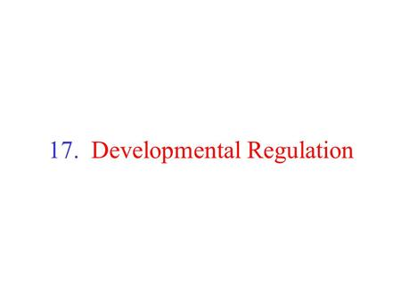 17. Developmental Regulation. Developmental Regulation Many inherited diseases result from mutations in genes regulating development Treatments/therapies.