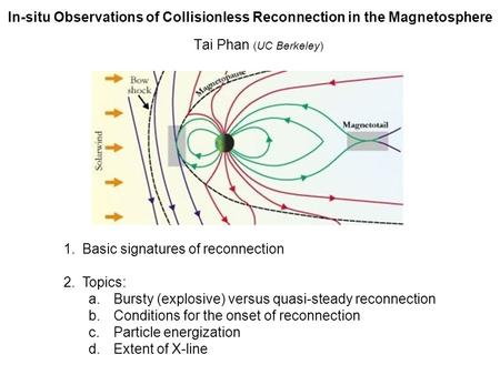 In-situ Observations of Collisionless Reconnection in the Magnetosphere Tai Phan (UC Berkeley) 1.Basic signatures of reconnection 2.Topics: a.Bursty (explosive)