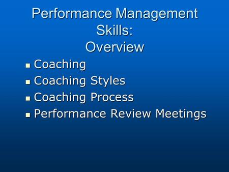 coaching and performance management essay