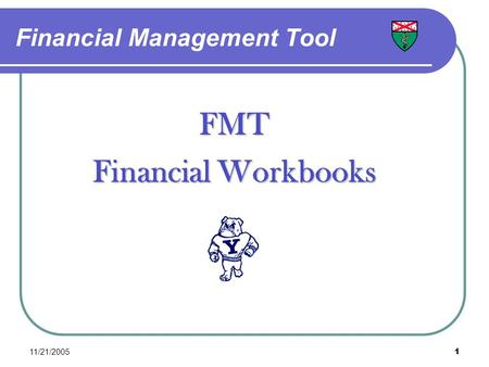 11/21/20051 Financial Management Tool FMT Financial Workbooks.