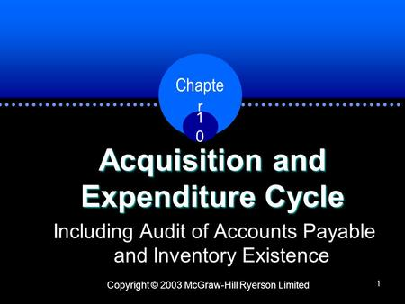 Copyright © 2003 McGraw-Hill Ryerson Limited Chapte r 1010 1 Acquisition and Expenditure Cycle Including Audit of Accounts Payable and Inventory Existence.