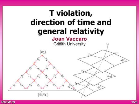 RQIW 09 1/28 T violation, direction of time and general relativity Joan Vaccaro Griffith University.