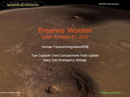 AAE450 Project Aquarius Breanne Wooten 1 Breanne Wooten Week 8: March 8 th, 2007 Human Factors/Integration/APM Taxi Capsule Crew Compartment Final Update.
