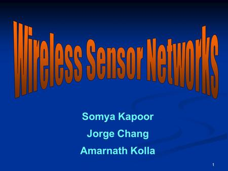 1 Somya Kapoor Jorge Chang Amarnath Kolla. 2 Agenda Introduction and Architecture of WSN –Somya Kapoor Security threats on WSN – Jorge Chang & Amarnath.