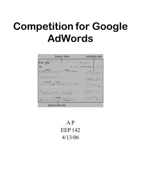 Competition for Google AdWords A P EEP 142 4/13/06.