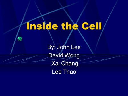Inside the Cell By: John Lee David Wong Xai Chang Lee Thao.