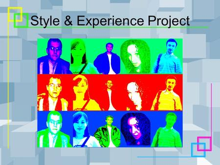Style & Experience Project. INTRODUCTION About the group About the project.