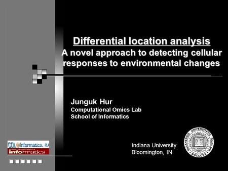 Indiana University Bloomington, IN Junguk Hur Computational Omics Lab School of Informatics Differential location analysis A novel approach to detecting.