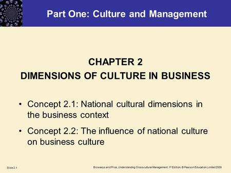 Browaeys and Price, Understanding Cross-cultural Management, 1 st Edition, © Pearson Education Limited 2009 Slide 2.1 Part One: Culture and Management.