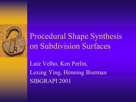 Procedural Shape Synthesis on Subdivision Surfaces