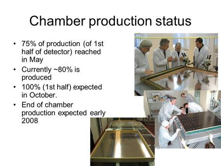 Chamber production status 75% of production (of 1st half of detector) reached in May Currently ~80% is produced 100% (1st half) expected in October. End.