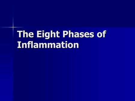 The Eight Phases of Inflammation. Injury Injury Utrastructural Changes Utrastructural Changes Metabolic (Hypoxic) Changes Metabolic (Hypoxic) Changes.