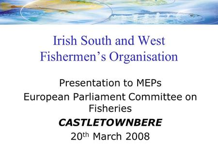 Irish South and West Fishermen's Organisation Presentation to MEPs European Parliament Committee on Fisheries CASTLETOWNBERE 20 th March 2008.