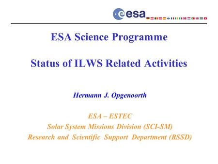 ESA Science Programme Status of ILWS Related Activities