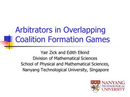 Arbitrators in Overlapping Coalition Formation Games