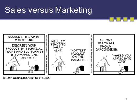 4-1 Sales versus Marketing. 3-2 MARKETING MANAGEMENT Gathering Information and Scanning the Environment.