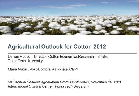 Agricultural Outlook for Cotton 2012 Darren Hudson, Director, Cotton Economics Research Institute, Texas Tech University Maria Mutuc, Post-Doctoral Associate,